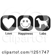 Clipart Of Black And White Love Happiness And Labs Dog Icons Royalty Free Vector Illustration
