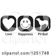 Clipart Of Black And White Love Happiness And Pit Bull Dog Icons Royalty Free Vector Illustration