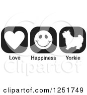 Clipart Of Black And White Love Happiness And Yorkie Dog Icons Royalty Free Vector Illustration by Johnny Sajem