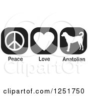 Clipart Of Black And White Peace Love And Anatolian Shepherd Dog Icons Royalty Free Vector Illustration