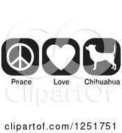 Clipart Of Black And White Peace Love And Chihuahua Dog Icons Royalty Free Vector Illustration