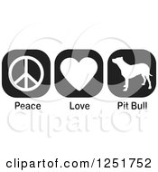 Clipart Of Black And White Peace Love And Pit Bull Dog Icons Royalty Free Vector Illustration