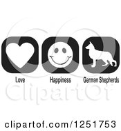 Clipart Of Black And White Love Happiness And German Shepherds Dog Icons Royalty Free Vector Illustration