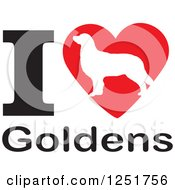 Clipart Of An I Heart Goldens Dog Design Royalty Free Vector Illustration