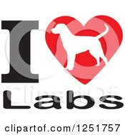 Clipart Of An I Heart Labs Dog Design Royalty Free Vector Illustration