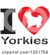 Clipart Of An I Heart Yorkies Dog Design Royalty Free Vector Illustration by Johnny Sajem