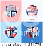 Clipart Of 3d Printing Social Media And Seo Designs Royalty Free Vector Illustration by elena