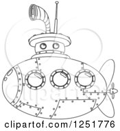 Clipart Of A Black And White Submarine Royalty Free Vector Illustration