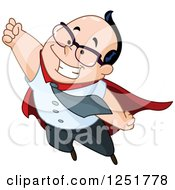 Clipart Of A Super White Businessman Flying Royalty Free Vector Illustration
