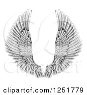 Clipart Of Black And White Spread Feathered Angel Wings Royalty Free Vector Illustration
