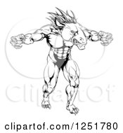 Clipart Of A Black And White Muscular Fierce Horse Mascot With Claws Royalty Free Vector Illustration
