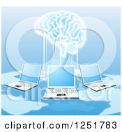 Clipart Of A Network Of Laptops Connected To A 3d Brain Royalty Free Vector Illustration