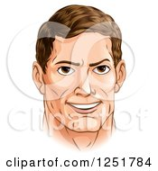 Clipart Of A Handsome Caucasian Man With Brunette Hair Royalty Free Vector Illustration