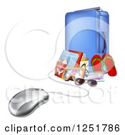 Clipart Of A 3d Computer Mouse Connected To Luggage And Travel Items Royalty Free Vector Illustration by AtStockIllustration