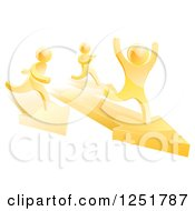 Clipart Of A 3d Gold Man Winning A Race On Arrows Royalty Free Vector Illustration