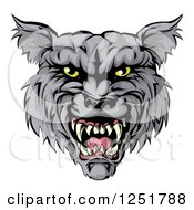 Clipart Of A Snarling Wolf Mascot Head Royalty Free Vector Illustration by AtStockIllustration