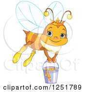 Clipart Of A Cute Queen Bee Flying With A Bucket Of Honey Royalty Free Vector Illustration