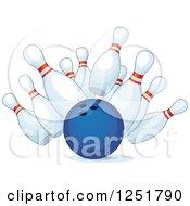 Blue Bowling Ball Smashing Into Pins