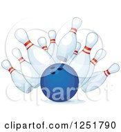 Clipart Of A Blue Bowling Ball Smashing Into Pins Royalty Free Vector Illustration