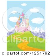 Clipart Of A Fairy Tale Castle On A Mountainous Hilltop Royalty Free Vector Illustration
