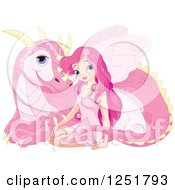 Clipart Of A Pink Fairy And Dragon Resting Royalty Free Vector Illustration