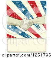 Clipart Of Union Workers Shaking Hands Over A Grungy American Burst And Sign Royalty Free Vector Illustration by Pushkin