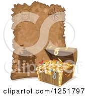 Clipart Of A Parchment Treasure Map Scroll And Chest Royalty Free Vector Illustration