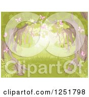 Forest Background With A Tree Canopy Ferns And Pink Spring Butterflies