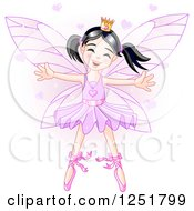 Clipart Of A Cute Asian Fairy Girl In A Purple Ballerina Tu Tu Royalty Free Vector Illustration