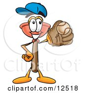 Sink Plunger Mascot Cartoon Character Catching A Baseball With A Glove