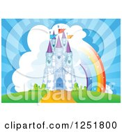 Clipart Of A Fairy Tale Castle With Clouds And A Rainbow Royalty Free Vector Illustration