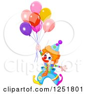 Clipart Of A Cute Red Haired Clown With Party Balloons Royalty Free Vector Illustration by Pushkin