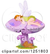 Clipart Of A Cute Fairy Or Elf Girl Sleeping On A Purple Mushroom Royalty Free Vector Illustration by Pushkin