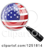 Clipart Of A Magnifing Glass With An American Flag Royalty Free Vector Illustration