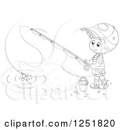 Clipart Of A Black And White Boy Fishing Royalty Free Vector Illustration by Alex Bannykh
