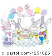 Clipart Of A Rabbit Family Having Cake On Easter Royalty Free Vector Illustration