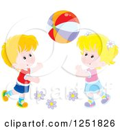 Clipart Of A Blond Caucasian Boy And Girl Playing With A Ball Royalty Free Vector Illustration