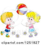 Clipart Of A Blond White Boy And Girl Playing With A Ball Royalty Free Vector Illustration