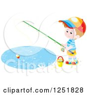 Clipart Of A Brunette White Boy Fishing Royalty Free Vector Illustration