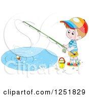 Brunette Caucasian Boy Fishing