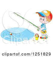 Clipart Of A Brunette Caucasian Boy Fishing Royalty Free Vector Illustration