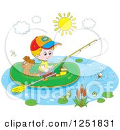 Blond Caucasian Boy And His Dog Fishing From A Raft