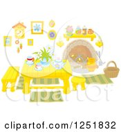 Clipart Of A Table With Tea Inside A Cabin Royalty Free Vector Illustration by Alex Bannykh