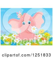 Clipart Of A Pink Elephant Girl With A Butterfly In Flowers Royalty Free Illustration