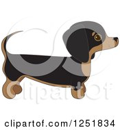 Clipart Of A Cute Dachshund Dog In Profile Royalty Free Vector Illustration
