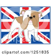 Clipart Of A Cute Standing English Bulldog Over A Uk Flag Royalty Free Vector Illustration