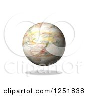 Clipart Of A 3d Fractal Globe And Shadow On White Royalty Free Illustration