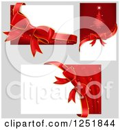 Clipart Of Reda Nd White Christmas Bows And Banner Signs On Gray Royalty Free Vector Illustration