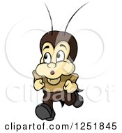 Clipart Of A Worried Cricket Running Royalty Free Vector Illustration