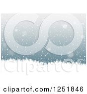 Clipart Of A Snow Background And Evergreens Royalty Free Vector Illustration